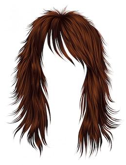 Trendy frau lange haare rote farben. schönheitsmode. realistisch