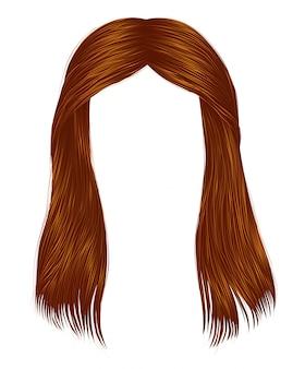 Trendy frau lange haare rote ingwerfarben. schönheitsmode. realistische 3d