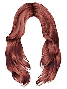 Trendy frau lange haare rote kupferfarben. schönheitsmode. realistische 3d