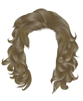 Trendy frau lockige haare blonde farbe. mittlere länge . schönheitsstil. realistisch.