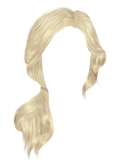 Trendy frauenhaare blonde helle farbe. schwanz.
