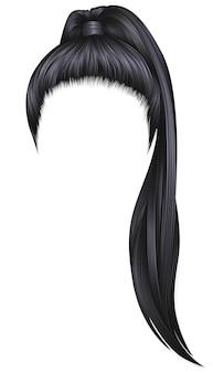 Trendy frauenhaare brünette schwarze farbe. hoher pferdeschwanz. mode schönheitsstil.