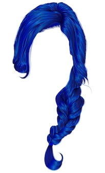 Trendy frauenhaare dunkelblaue farbe. zopf. mode.