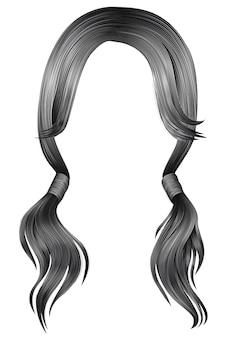 Trendy frauenhaare grau silber farbe. zwei pigtails.
