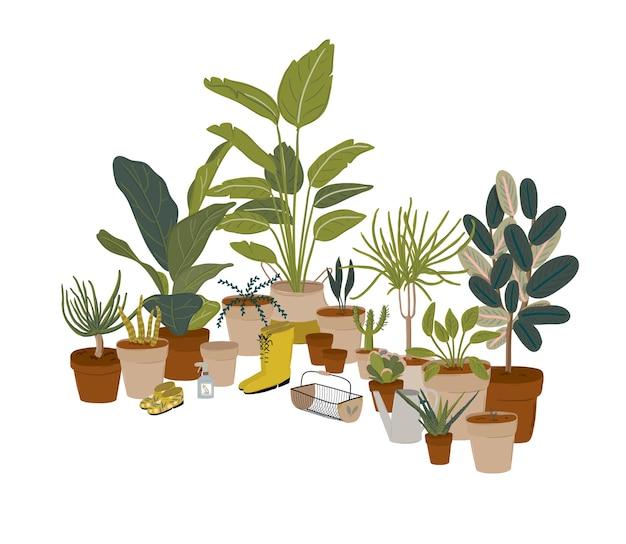 Trendy grün zu hause dschungel interieur mit wohnkultur