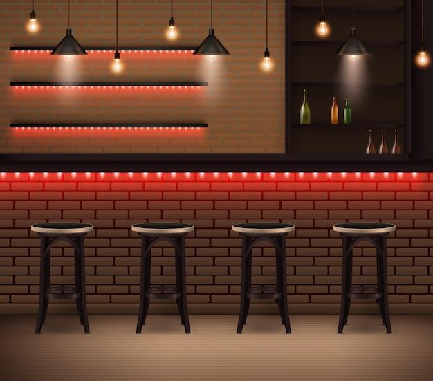 Trendy interieur der realistischen illustration des cafés im loftstil mit thekenstühlen und backsteinmauern