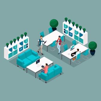 Trendy isometric menschen und geräte coworking center, arbeit, technologie, laptop, pad, freiberufler, künstler, programmierer sind auf einem hellen hintergrund isoliert