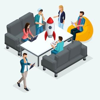 Trendy isometric people, geschäftsmann, entwicklung von start-ups, kreative junge leute, freiberufler, team von fachleuten, unternehmensgründung, brainstorming auf licht