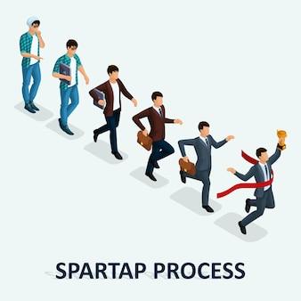 Trendy isometric people, geschäftsmann, entwicklungs-start-up, kreativer freiberufler, start-up-prozess, karrierewachstum, geschäftskonzept