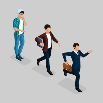 Trendy isometrische leute, geschäftsmann, entwicklungsstart, kreativer freiberufler, team von fachleuten, unternehmensgründung, karrierewachstum, geschäftskonzept auf einem grau