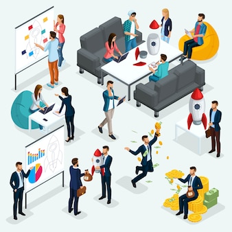 Trendy isometrische leute, geschäftsmann, konzept mit jungen leuten, entwicklung des start-ups, team von spezialisten, studenten, unternehmensgründung, brainstorming, geschäft