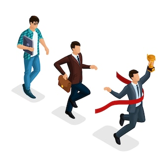 Trendy isometrische menschen, geschäftsmann, entwicklungs-start-up, kreativer junger geschäftsmann, freiberufler, start-up-prozess, karrierewachstum, geschäftskonzept
