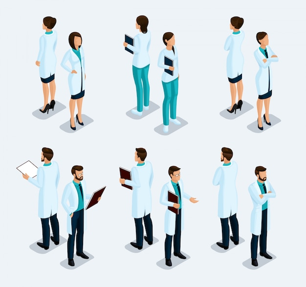 Trendy isometrische menschen. medizinisches personal, krankenhaus, arzt, krankenschwester, chirurg