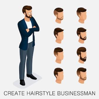 Trendy isometrische set 10, qualitative studie, eine reihe von herrenfrisuren, hipster-stil. des heutigen jungen kaufmanns
