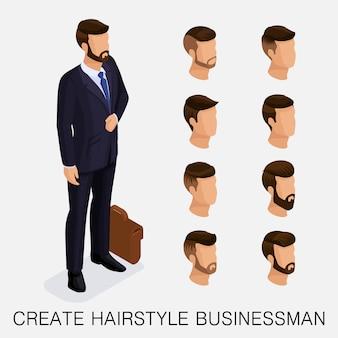 Trendy isometrische set 11, qualitative studie, eine reihe von herrenfrisuren, hipster-stil. des heutigen jungen kaufmanns