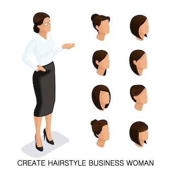 Trendy isometrische set 2, frauenfrisuren. junge geschäftsfrau, frisur, haarfarbe, getrennt. erstellen sie ein bild von der modernen geschäftsfrau