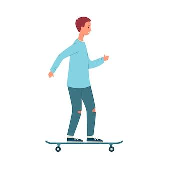 Trendy junger mann oder mannkarikaturfigur, die auf skateboard, illustration auf weißem hintergrund steht. männliche zufällige persönlichkeit der stadtstraßen.