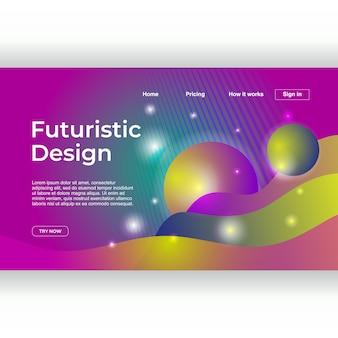 Trendy landing page mit modernem design und leuchtgradienten