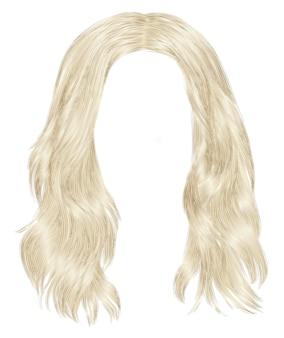 Trendy lange haare blonde farben. realistische 3d