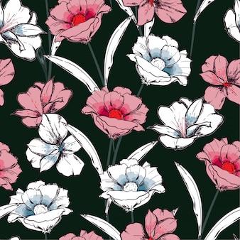 Trendy nahtlose muster hand gezeichnete blühende blumen in der gartenblumenwiederholung