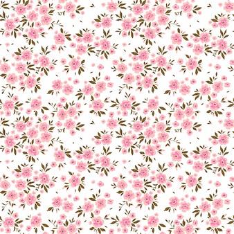 Trendy nahtlose vektor blumenmuster nahtloser druck kleine rosa blüten weißer hintergrund