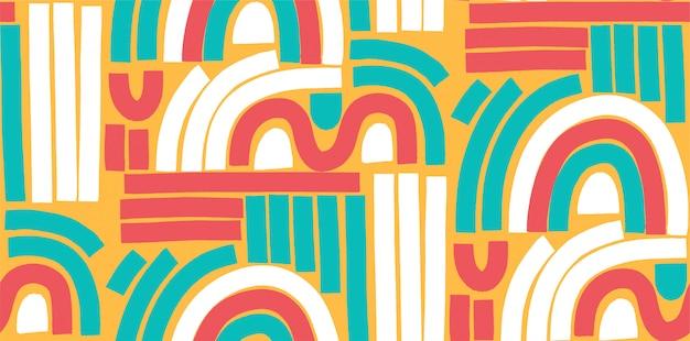 Trendy nahtloses muster im memphis-stil. buntes geometrisches nahtloses muster im stil der 80er bis 90er jahre.