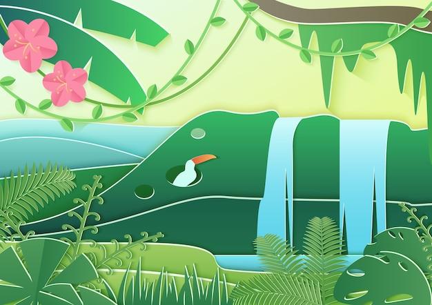 Trendy papier geschnittene art waldwelt. konzept des tropischen regenwalddschungels mit vögeln und wasserfall.