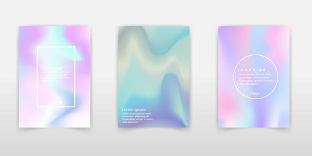 Trendy pastell holographische folie hintergründe für cover, flyer, broschüre, poster, hochzeitseinladung