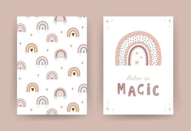 Trendy regenbogen im boho-stil in verschiedenen farben. glaube an magie.