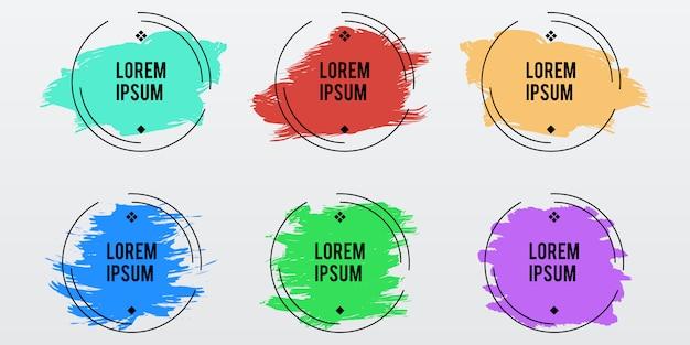 Trendy runde rahmen auf farbpastellpinselstrich
