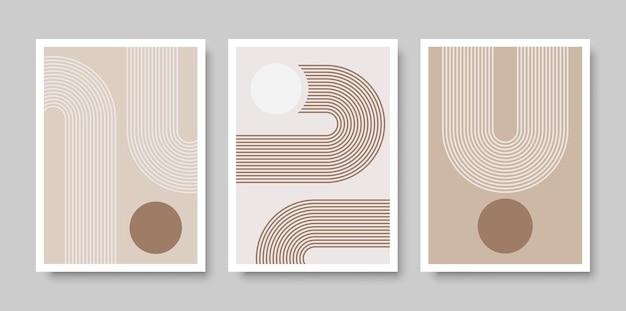 Trendy satz abstrakter kreativer minimalistischer künstlerischer handgemalter komposition für wanddekoration