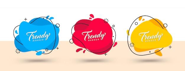 Trendy satz von abstrakten bannern. helle vorlagenbanner. vorlage zur verwendung im web- oder druckdesign bereit.