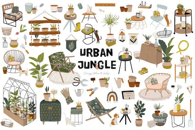 Trendy skandinavian urban greenery zu hause jungle interior mit wohnaccessoires. gemütlicher hausgarten im hygge-stil eingerichtet. verrückte plant lady illustration.