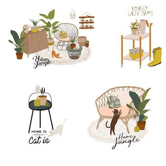 Trendy skandinavian urban greenery zu hause jungle interior mit wohnaccessoires. gemütlicher hausgarten im hygge-stil eingerichtet. verrückte plant lady illustration