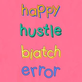 Trendy slang typografie auf einem rosa hintergrund eingestellt