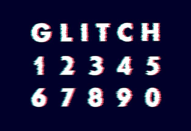 Trendy style verzerrte glitch-schrift. buchstaben- und zahlenillustrationsalphabet