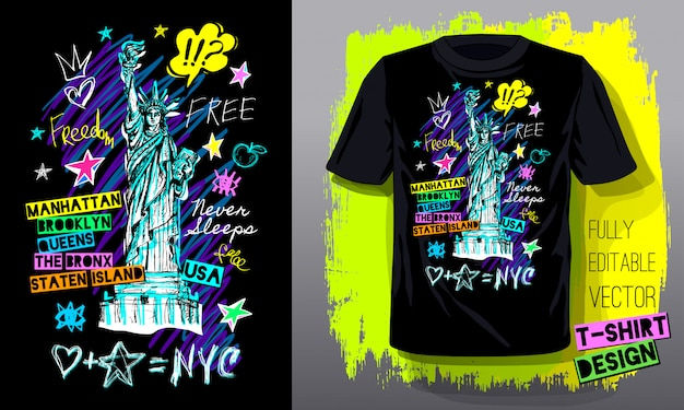 Trendy t-shirt vorlage, mode t-shirt design, hell, sommer, coole slogan schriftzug. farbstift, marker, tinte, stift kritzelt skizzenstil. hand gezeichnete illustration.