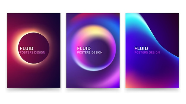 Trendy vector fluid gradient a4 poster design set.