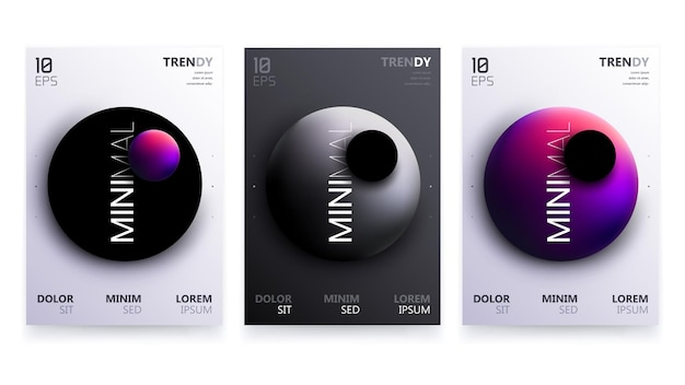 Trendy vector fluid gradient a4 poster design set.