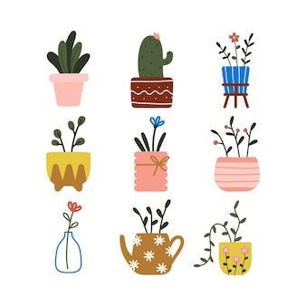 Trendy wohnkultur elemente mit hygge haus innen topfpflanzen blätter und blumentopf niedlich zeichnen gekritzel illustration.