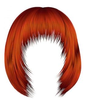 Trendy womanred ingwer rotschopf farben. haare kare mit fransen. schönheitsstil.