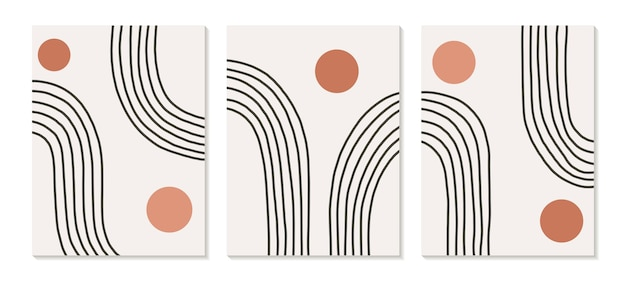 Trendy zeitgenössisches set der abstrakten geometrischen minimalistischen komposition