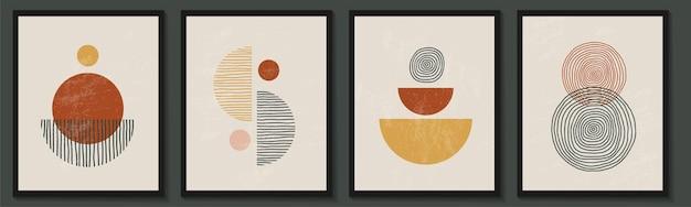 Trendy zeitgenössisches set der abstrakten geometrischen minimalistischen künstlerischen komposition