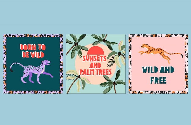 Trendy zitat sommerkartensatz. sommerferienkonzept. handgezeichnete karten und trendige handgeschriebene zitate. grußkarte, webplakatvorlagen. wilde tiere, moderner text und palmen.