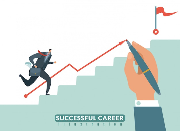 Treppe zum ziel. weg zum erfolg geschäftskarriere, geschäftsmann treppe zum ziel und wachstum mitarbeiter illustration