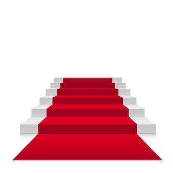 Treppen 3d mit rotem teppich. scharlachrote treppe für berühmtheit oder treppe bis zum erfolg lokalisiert auf weißem hintergrund