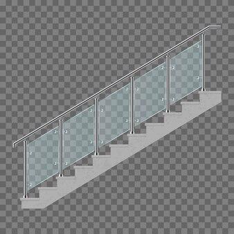 Treppen mit glasgeländerillustration lokalisiert auf transparentem hintergrund