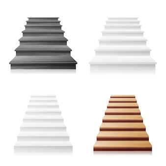 Treppenhaus-vektor-set. weiß, dunkles holz. realistische abbildung 3d.