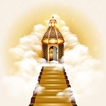 Treppenhaus zur himmel-tür-illustration