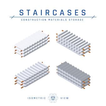 Treppenlagerung, isometrische ansicht. satz konkrete symbole für architektonische entwürfe. sammlung von bauprodukten. isoliert auf einem weißen hintergrund im flachen stil.